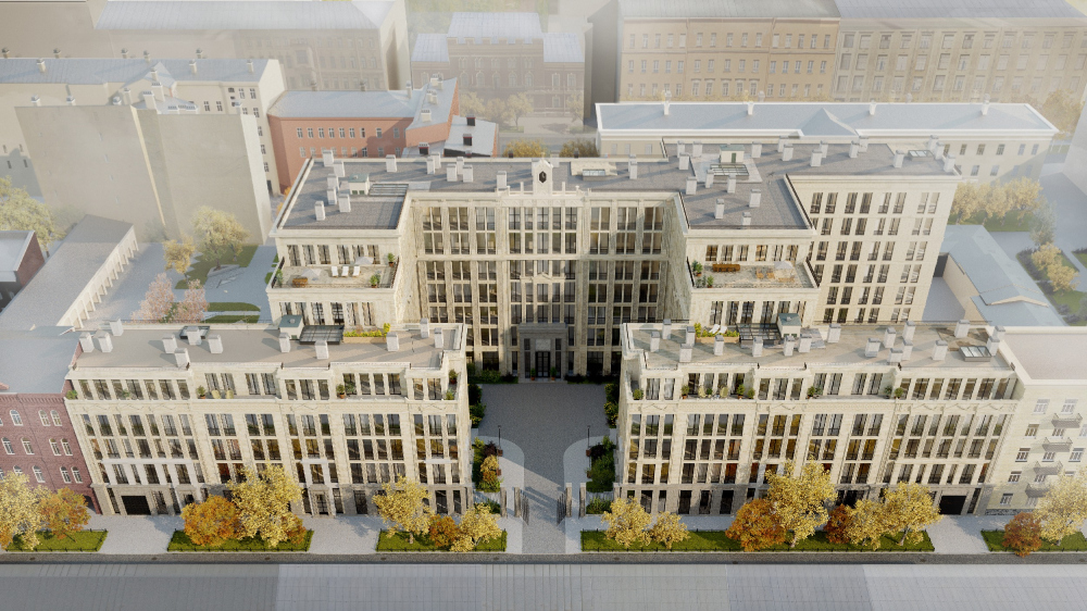 """""""Little France"""" housing complex. Birds-eye view from the west side<br>Copyright: © Liphart Architects"""