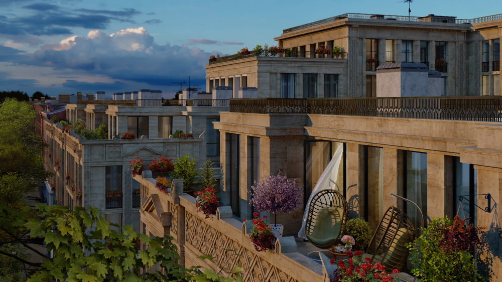"""""""Little France"""" housing complex.  View of the terrace of the street facade from the street side<br>Copyright: © Liphart Architects"""