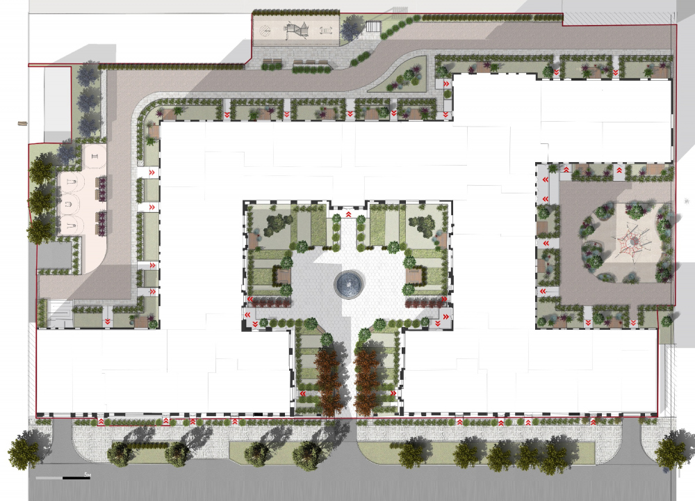 """""""Little France"""" housing complex. The land site with the landscaping project<br>Copyright: © Liphart Architects"""