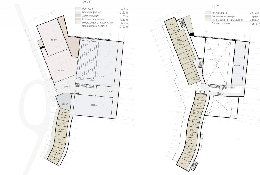 Amber Residence hotel complex. Plans of the 1st and 2nd floors<br>Copyright: © ASADOV architects