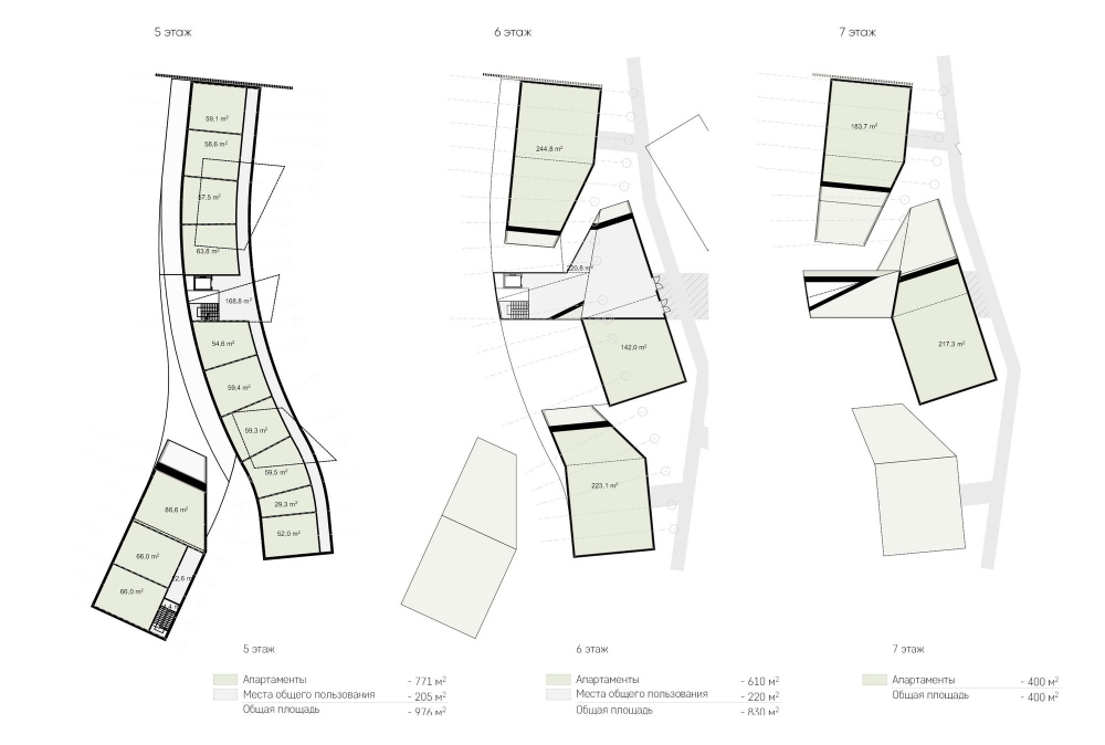 Amber Residence hotel complex. Plans of the 5th, 6th, 7th floors<br>Copyright: © ASADOV architects