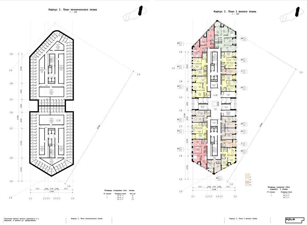 "Building 2. Plan of the maintenance floor and the 1st residential floor. ""Zurbagan"" housing complex. Concept of territory development in Voronezh, 2018-2020<br>Copyright: © Architectural Bureau KPLN"