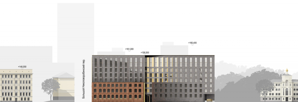 The developent drawing of the facades on the Tessinsky Alley. The reconstruction project in the Bolshoy Nikolovorobinsky Alley. The building is converted into a housing complex.<br>Copyright: © Sergey Skuratov ARCHITECTS