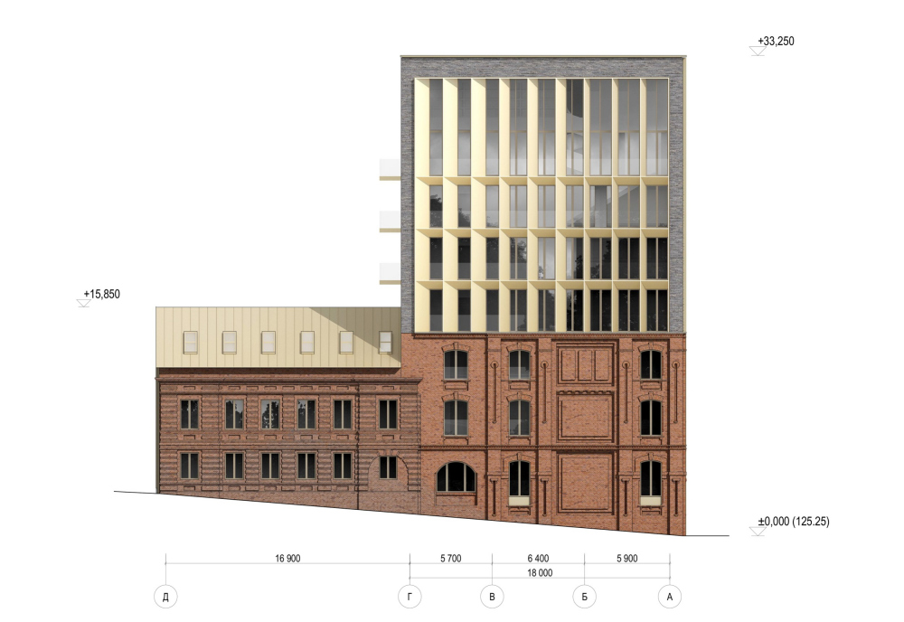 The facade plan on grid lines. The reconstruction project in the Bolshoy Nikolovorobinsky Alley. The building is converted into a housing complex.<br>Copyright: © Sergey Skuratov ARCHITECTS