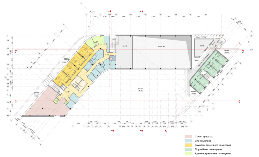 Plan of the 3rd floor. Millenium Sport multifunctional fitness center<br>Copyright: © ARS-ST, 4izmerenie