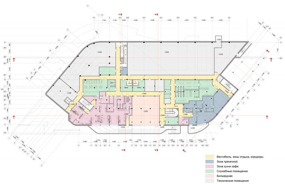Plan of the underground level. Millenium Sport multifunctional fitness center<br>Copyright: © ARS-ST, 4izmerenie