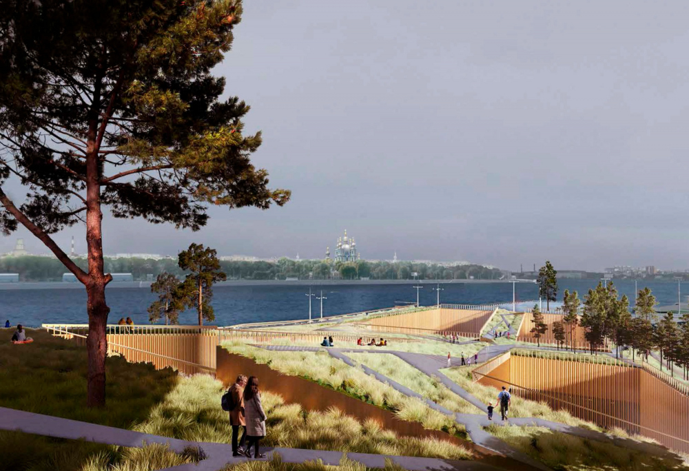 Concept of developing the territory of the Okhta Cape.<br>Copyright: © Kosmos Architects