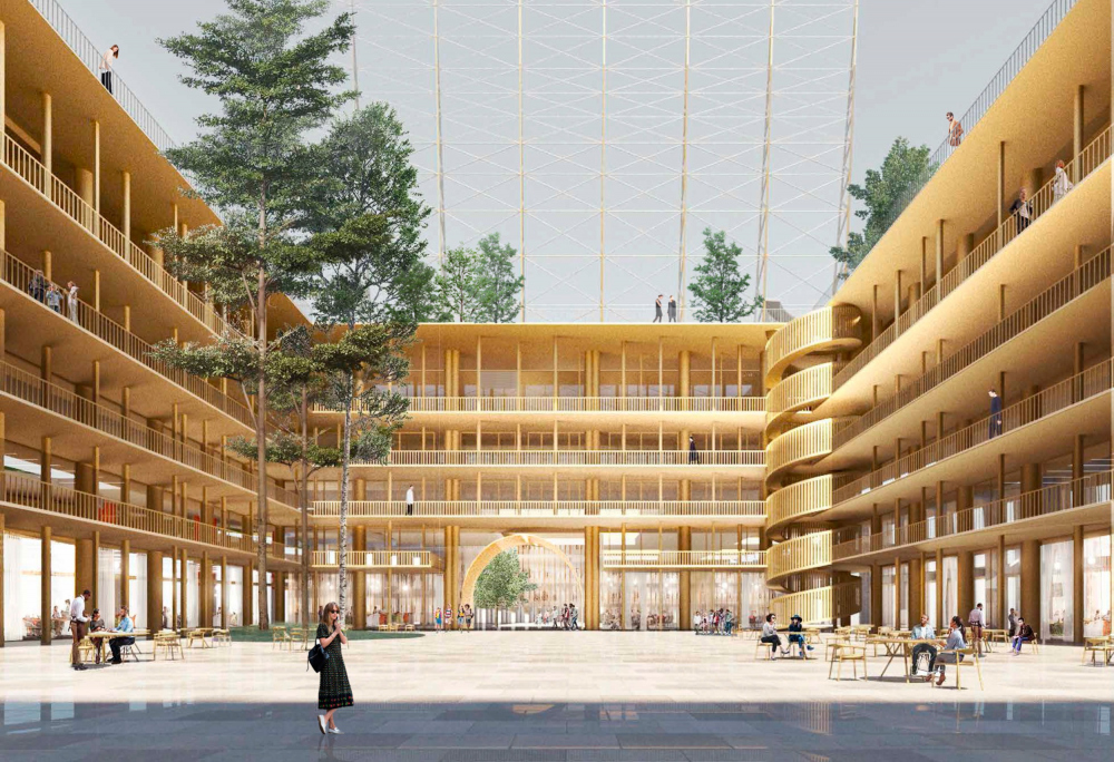 The main courtyard. Concept of developing the territory of the Okhta Cape.<br>Copyright: © Kosmos Architects