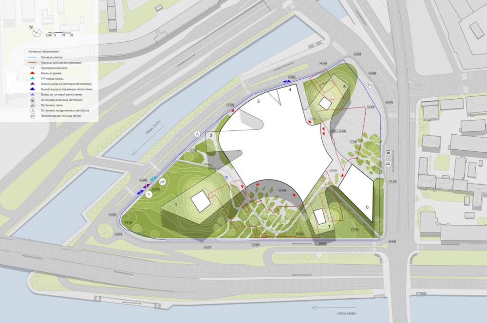The mater plan. Concept of developing the territory of the Okhta Cape.<br>Copyright: © Sergey Skuratov ARCHITECTS