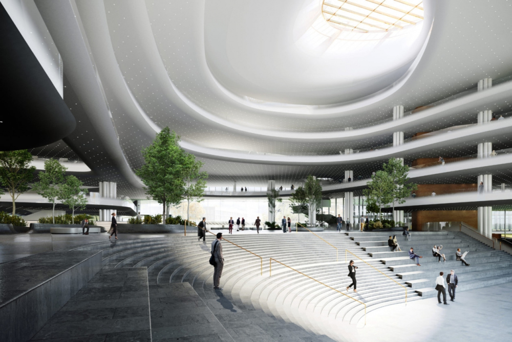 The main atrium. View of the amphitheater from the bar. Concept of developing the territory of the Okhta Cape.<br>Copyright: © Sergey Skuratov ARCHITECTS