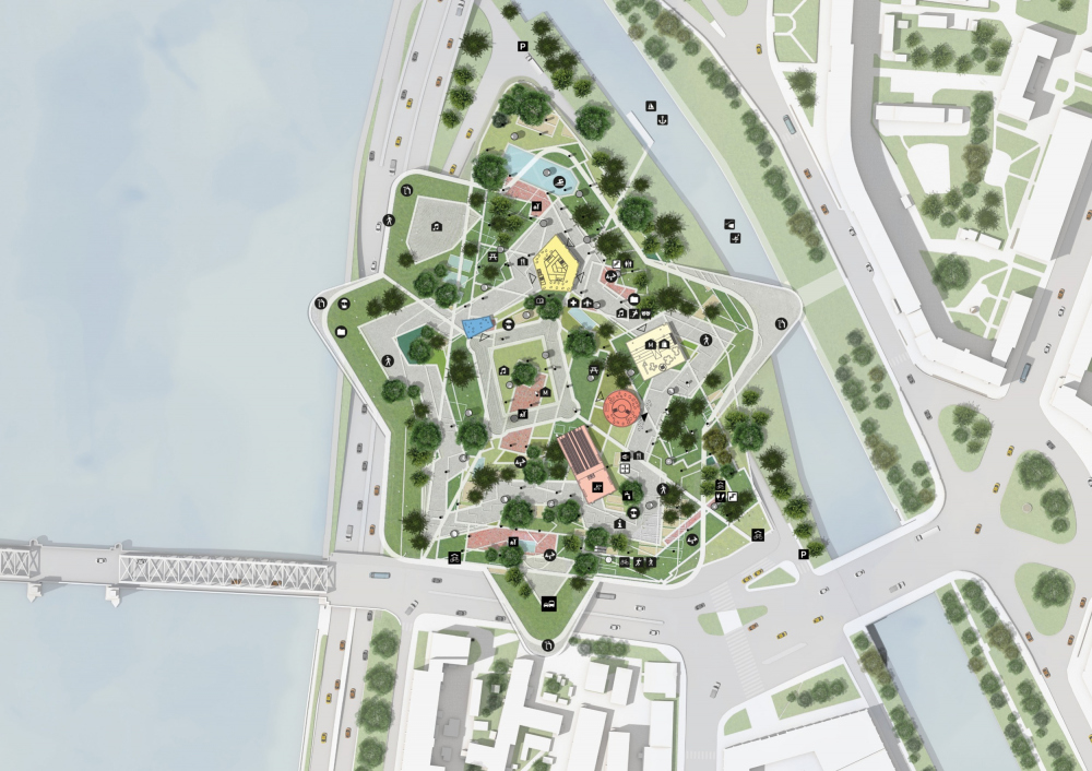 Master plan of the 1st floor. Concept of developing the territory of the Okhta Cape.<br>Copyright: © MVRDV