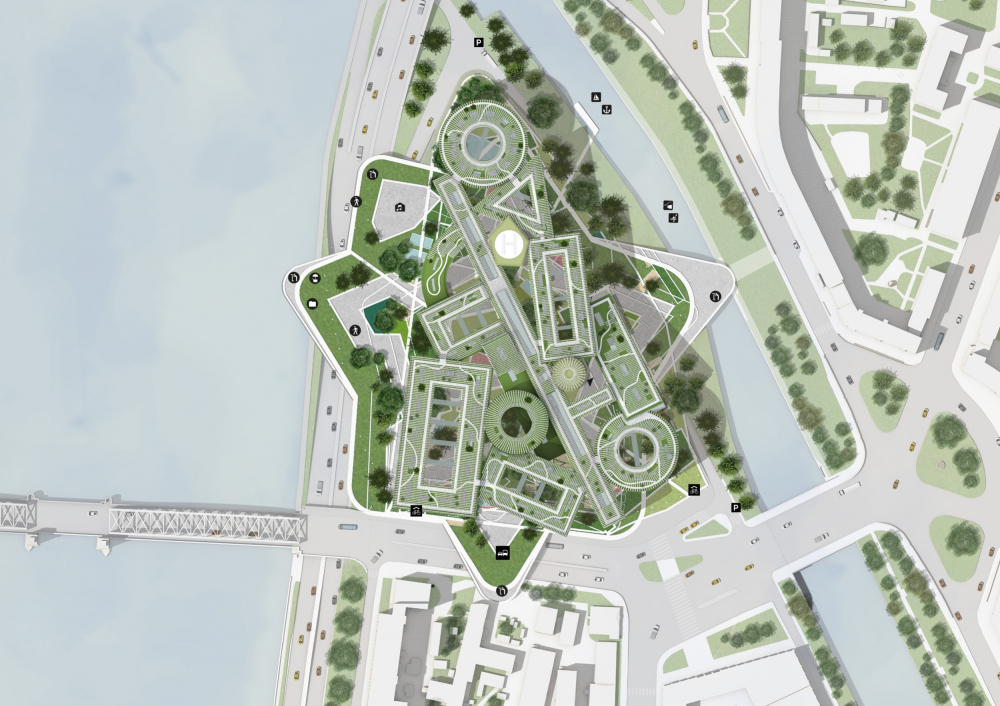 Master plan of the roof. Concept of developing the territory of the Okhta Cape.<br>Copyright: © MVRDV