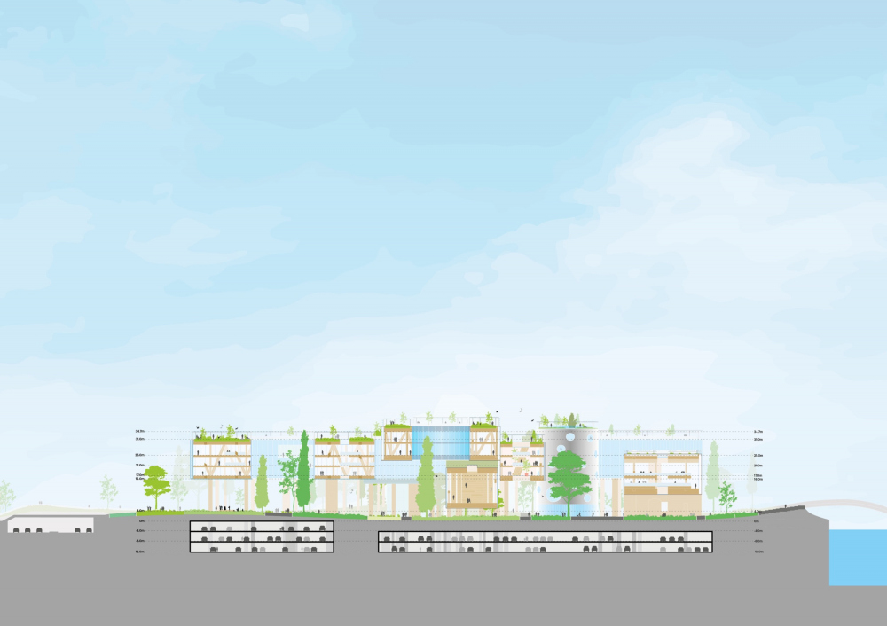 The section view. Concept of developing the territory of the Okhta Cape.<br>Copyright: © MVRDV