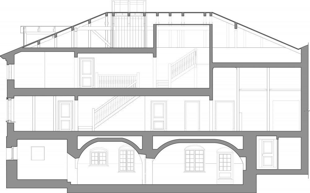 The Sytin House restoration project. The section view<br>Copyright: © Ginzburg Architects