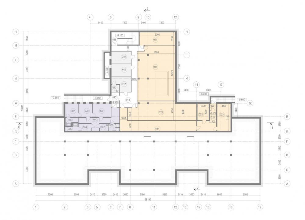 The basement plan. Kindergarten #47 of the Pushkinsky District of St. Petersburg<br>Copyright: © A.Len