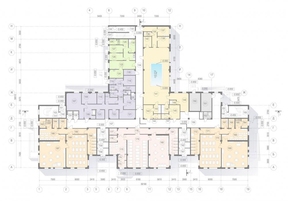 Plan of the 1st floor. Kindergarten #47 of the Pushkinsky District of St. Petersburg<br>Copyright: © A.Len