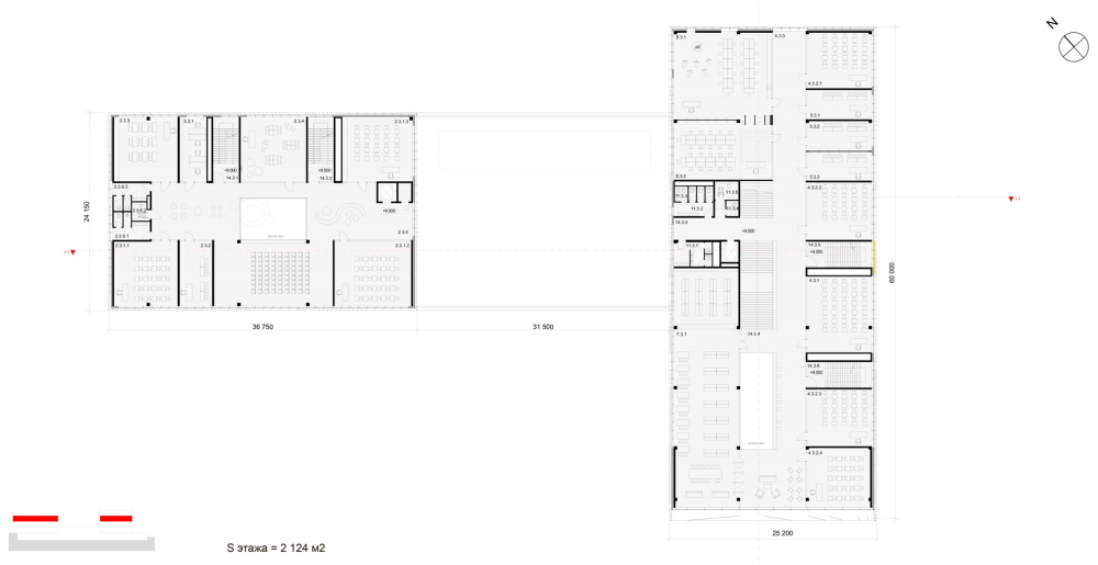 "Plan of the 3rd floor at Elevation +0.500. The ""Novy Vzglyad"" school as part of ""Garden Quarters"", 2020<br>Copyright: © Sergey Skuratov ARCHITECTS"