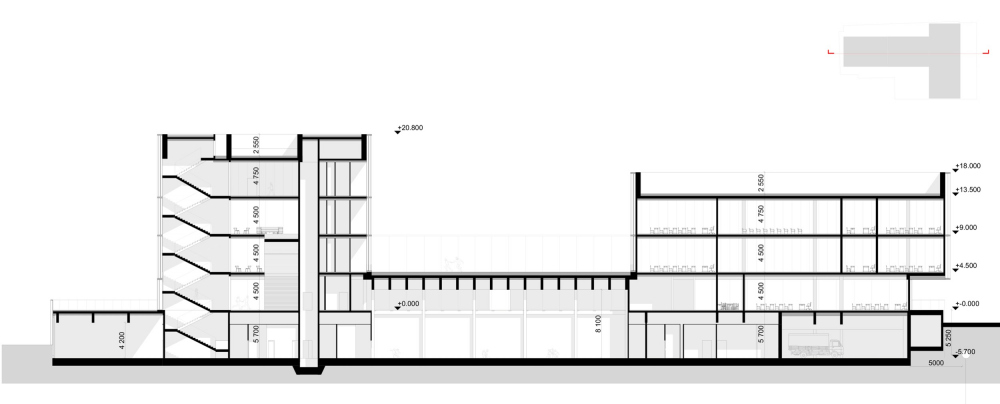 "Section view 1-1. The ""Novy Vzglyad"" school as part of ""Garden Quarters"", 2020<br>Copyright: © Sergey Skuratov ARCHITECTS"