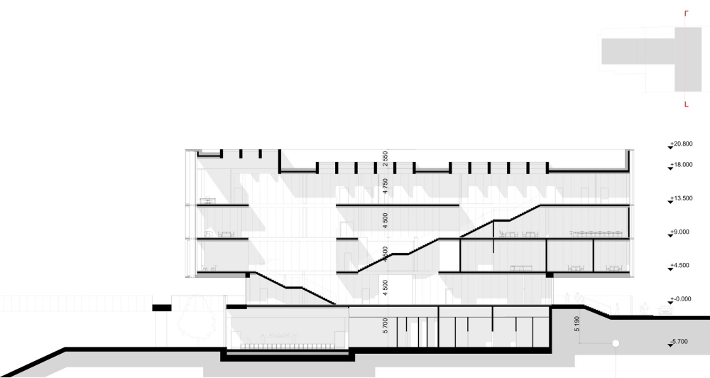 "Section view 2-2. The ""Novy Vzglyad"" school as part of ""Garden Quarters"", 2020<br>Copyright: © Sergey Skuratov ARCHITECTS"