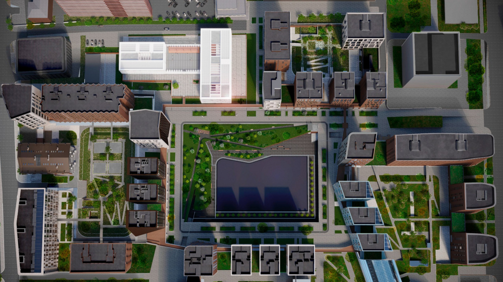 "Top view. The ""Novy Vzglyad"" school as part of ""Garden Quarters"", 2020<br>Copyright: © Sergey Skuratov ARCHITECTS"