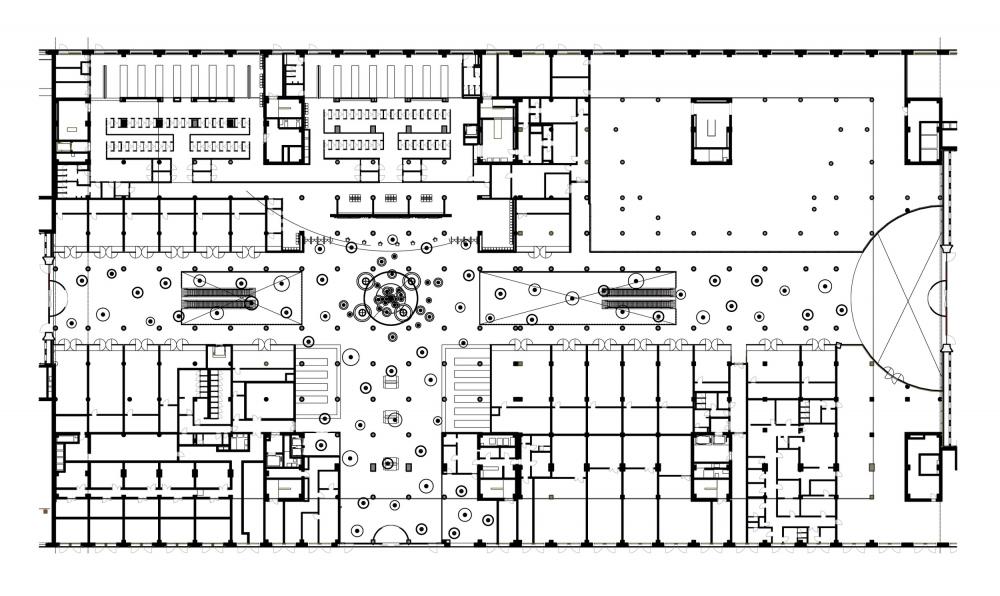 План 1 этажа. Дворец водных видов спорта «Лужники» © UNK project