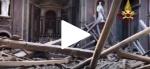 Обрушившуюся крышу римской церкви сняли на видео