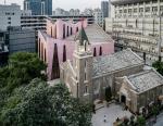 Христианский центр в розовом цвете построен в китайском Фучжоу