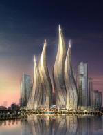 Башни в форме горящих свечей в Дубаи