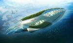 Плавающий сад в форме кита очищает речные воды