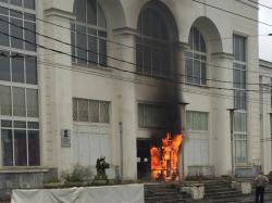 В Перми загорелось здание Речного вокзала