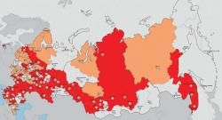 Карта-схема размещения региональных организаций Союза архитекторов России. Графика СА России