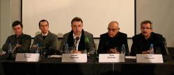 Слева направо: Пьер Витторио Аурели, Мартино Таттара, Андрей Чернихов, Элиа Зенгелис и Георгий Станишев во время пресс-конференции.