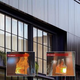 Облицовочные плиты Rockpanel Premium А2 со скрытым креплением успешно прошли огневые испытания