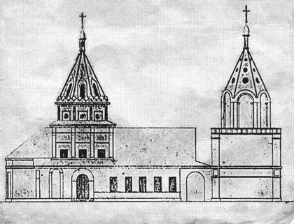 Собор Алексеевского монастыря в Чертолье. Чертеж северного фасада, найденный и опубликованный В.А. Рябовым