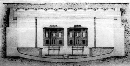 2.Поперечный разрез станции из проекта П.И. Балинского и Е.К. Кнорре.