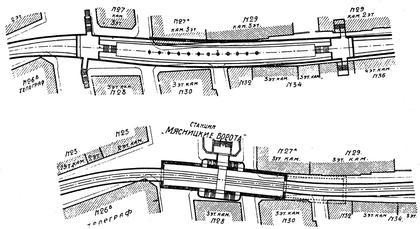 5. Проекты станции «Мясницкие ворота» фирмы Сименс-Бауунион (вверху) и Управления МГЖД (внизу).