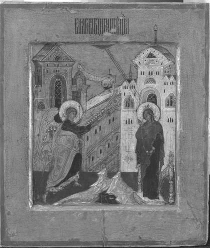 Строгановские иконы «Благовещение» и «Сошествие Святого Духа на апостолов, с клеймами» из собрания Музея имени Андрея Рублева