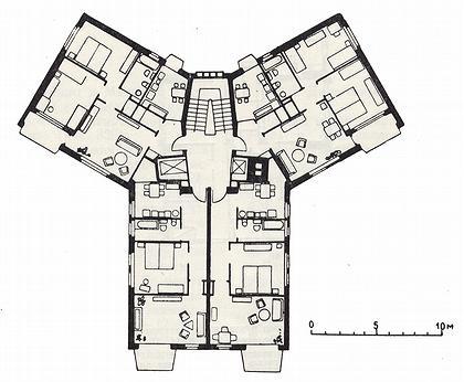 4 а. 12-этажный дом в жилом комплексе Летциграбен. Цюрих. Швейцария. Арх. Штейнер. 1951-1952 г.г. План типового этажа.