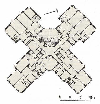 5 а. 16-18 этажный жилой дом в жилом комплексе Кастел-Виллэдж. Нью-Йорк (шт. Нью-Йорк), США. Арх. Пелхэм. 60-тые годы. План типового этажа.