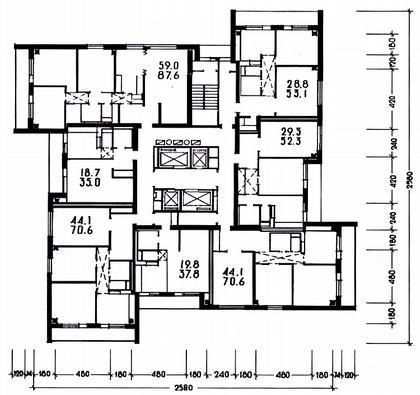 10 а. 25-этажный каркаснопанельный  жилой дом И-521А. Москва, просп. Маршала Жукова. Арх. Р.Саруханян. (МНИИТЭП М-2). 1974г. План типового этажа.