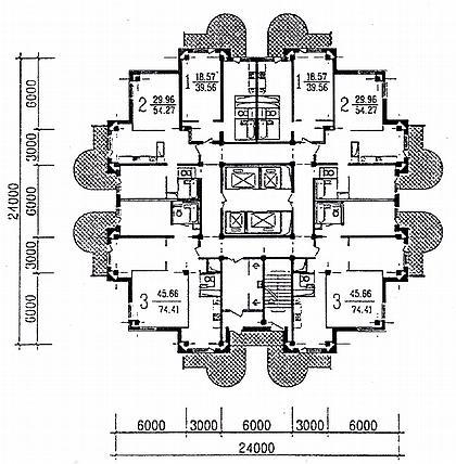 12 а. 24-этажный каркасно-панельный  жилой дом. Москва, Кантемировская ул. Арх. М.Скулиновский, А.Юдаком, М.Кочергина. 1996г. План типового этажа.