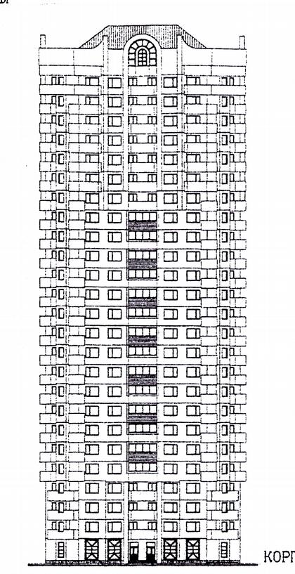 14 б. Проект комплекса жилых домов для экспериментального строительства И-1782/1-5 (МНИИТЭП М-2). Фасад.