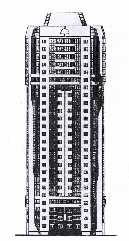 15 б. Проект 25-этажного жилого дома в монолитных конструкциях И-1822 (МНИИТЭП М-2). Фасад.