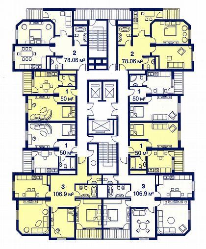 20 а. Жилой комплекс «Северный город». Москва, ул. Дубнинская. (архитектурное бюро «Капитал Групп»). План типового этажа.