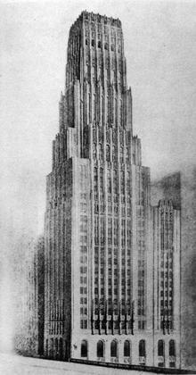 9. Э.Сааринен, конкурсный проект здания Чикаго Трибюн, 1922.
