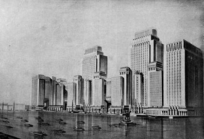 12. Д.Ф.Фридман. Проект Наркомтяжпрома на Красной площади в Москве, 1934.