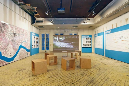 Van Alen Institute's pop-up ground floor exhibition space. 