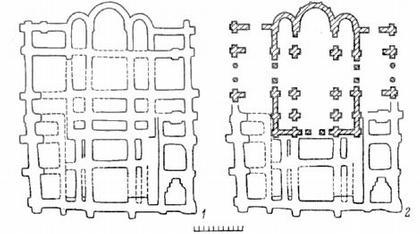 Киев. Десятинная церковь.  1 - план фундаментов, 2 - частичная схематическая реконструкция плана.