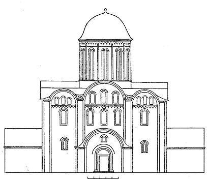 Чернигов. Успенский собор Елецкого монастыря. Реконструкция западного фасада.