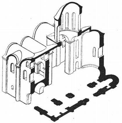 Киев. Кирилловская церковь. Аксонометрический разрез